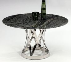 CHINTALY Janet Round BLACK Dining Table w/ Marble Top