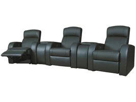 Cyrus Black Leather Reclining Three Seat Home Theater Set With Wedge