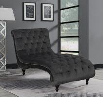 Chaise in Charcoal Velvet Fabric