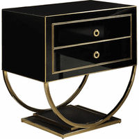 Meridian Furniture Alyssa Black Glass with Rich Gold Stainless Steel Base Side Table