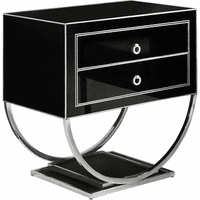 Meridian Furniture Alyssa Side Table Rich Chrome Stainless Steel Base with Black Glass