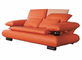 ESF 410 ORANGE ITALIAN LEATHER SOFA