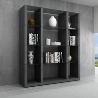 J & M Furniture Cloud Wall Unit in Grey High Gloss