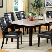 Furniture of America Marble Top Oval -Edge Dining Table + 4 Chairs