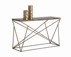Galaxy Console Table - Antique Brass - Brown Marble