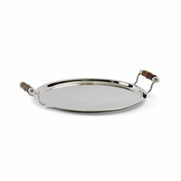 Go Home Bamboo Handled Round Tray