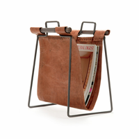 Go Home Leather and Iron Sling Magazine Stand