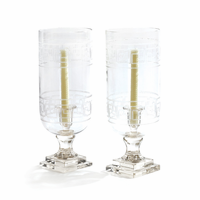 Go Home Pair Of Etched Glass Greek Key Hurricanes