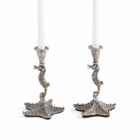 Go Home Pair of Lacey Coastal Candlesticks