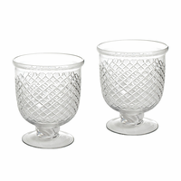 Go Home Pair Of Small Antique Diamond Cut Etched Hurricanes
