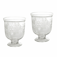 Go Home Pair Of Small Antique Leaf Etched Hurricanes