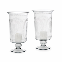 Go Home Pair Of Tall Etched Hurricanes