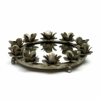 Go Home Small Antique Silver Rose Round Mirrored Tray