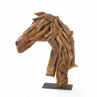 Go Home Wood Horse Head On Iron Stand