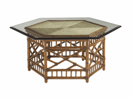 Island Estate TH-531-947C Key Largo Cocktail Table With Glass Top