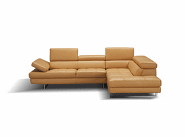 J & M Furniture A761 Italian Leather Sectional in Freesia in Right Hand Facing