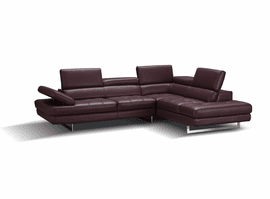 J & M Furniture A761 Italian Leather Sectional in Maroon in Right Hand Facing