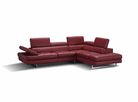 J & M Furniture A761 Italian Leather Sectional in Red in Right Hand Facing