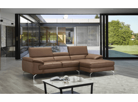 J & M Furniture A973B Italian Leather Mini Sectional Left Facing Chaise in Caramel