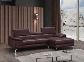 J & M Furniture A973B Italian Leather Mini Sectional Right Facing Chaise in Maroon