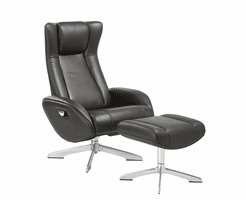 J & M Furniture Maya Chair and Ottoman in Black