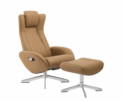 J & M Furniture Maya Chair and Ottoman in Camel