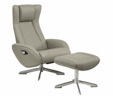 J & M Furniture Maya Chair and Ottoman in Grey
