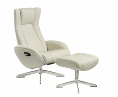 J & M Furniture Maya Chair and Ottoman in White
