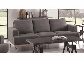 Kester Sofa & Loveseat Set in Charcoal Fabric