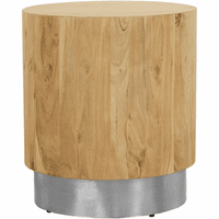 Meridian Furniture Acacia End Table Solid Acacia Wood with Chrome Metal Base