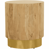 Meridian Furniture Acacia End Table Solid Acacia Wood with Gold Metal Base
