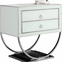 Meridian Furniture Alyssa Side Table Rich Chrome Stainless Steel Base with White Glass