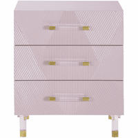 Meridian Furniture Anastasia Pink Lacquer Side Table