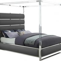 Meridian Furniture Encore Faux Leather Bed Grey
