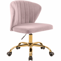Meridian Furniture Finley Velvet Deep Channel Tufting Office Chair Pink