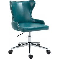 Meridian Furniture Hendrix Faux Leather Deep Button Tufting Office Chair Blue