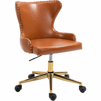 Meridian Furniture Hendrix Faux Leather Office Chair Cognac