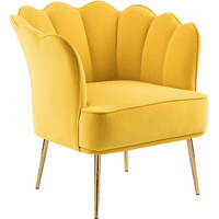 Meridian Furniture Jester Velvet Accent Chair Yellow