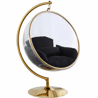 Meridian Furniture Luna Acrylic Swing Bubble Accent Chair Gold Metal Base with Black