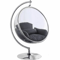 Meridian Furniture Luna Acrylic Swing Bubble Accent Chair Grey