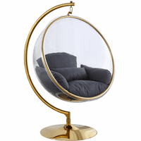 Meridian Furniture Luna Acrylic Swing Bubble Accent Chair Gold Metal Base with Grey