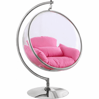 Meridian Furniture Luna Acrylic Swing Bubble Accent Chair Pink