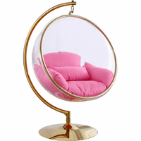 Meridian Furniture Luna Acrylic Swing Bubble Accent Chair Gold Metal Base with Pink