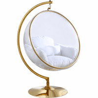 Meridian Furniture Luna Acrylic Swing Bubble Accent Chair Gold Metal Base with White