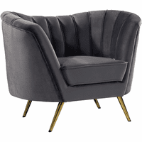 Meridian Furniture Margo Velvet Chair Gold Stainless Legs with Grey