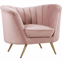 Meridian Furniture Margo Velvet Chair Gold Stainless Legs with Pink