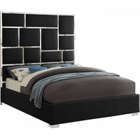 Meridian Furniture Milan Faux Leather Queen Bed Black