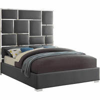 Meridian Furniture Milan Faux Leather Queen Bed Grey