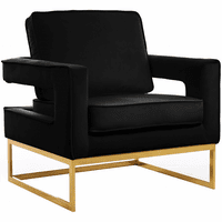 Meridian Furniture Noah Velvet Accent Chair Gold Stainless Steel Base with Black