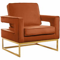 Meridian Furniture Noah Velvet Accent Chair Gold Stainless Steel Base with Cognac